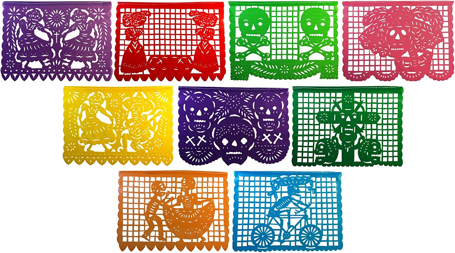 Paper Full of Wishes Large Plastic Day of The Dead Papel Picado Banner - Un Dia de Memoria - Decorations for Dia De Los Muertos - Banner has 9 Large Panels and is 15 Ft Long Hanging