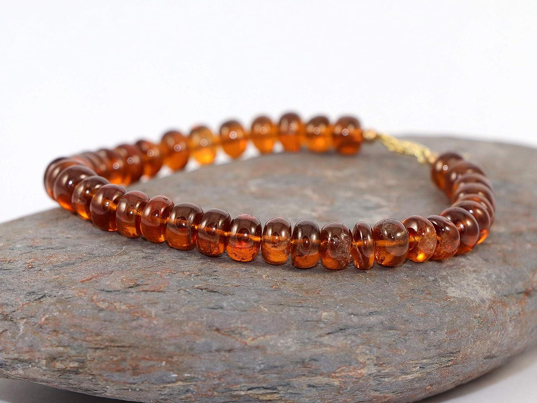 Handmade Bracelet with Extra Quality Hessonite Garnet  5 mm 18 cm bracelet gift for wife mother girlfriend code-CD145