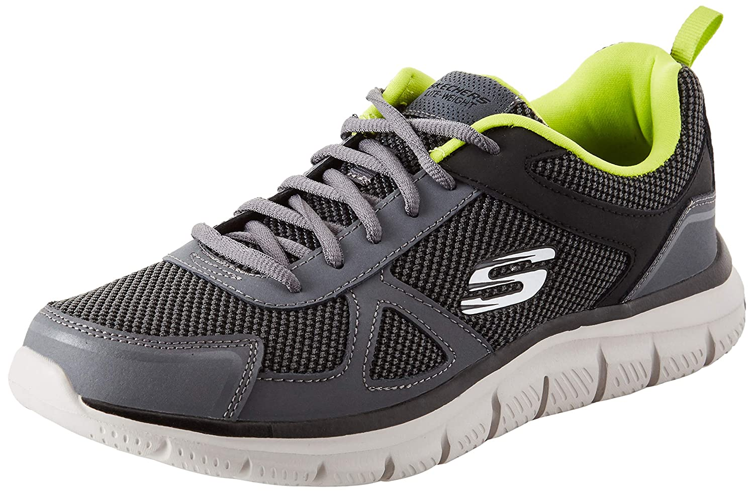 Skechers Mens TRACK BUCOLO Trainers, Charcoal/Lime, 10 UK 45 EU ...