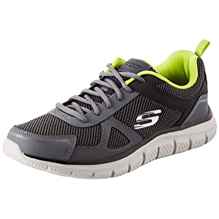 Skechers Sport Men's Track Bucolo Oxford,charcoal/lime,10 2E US