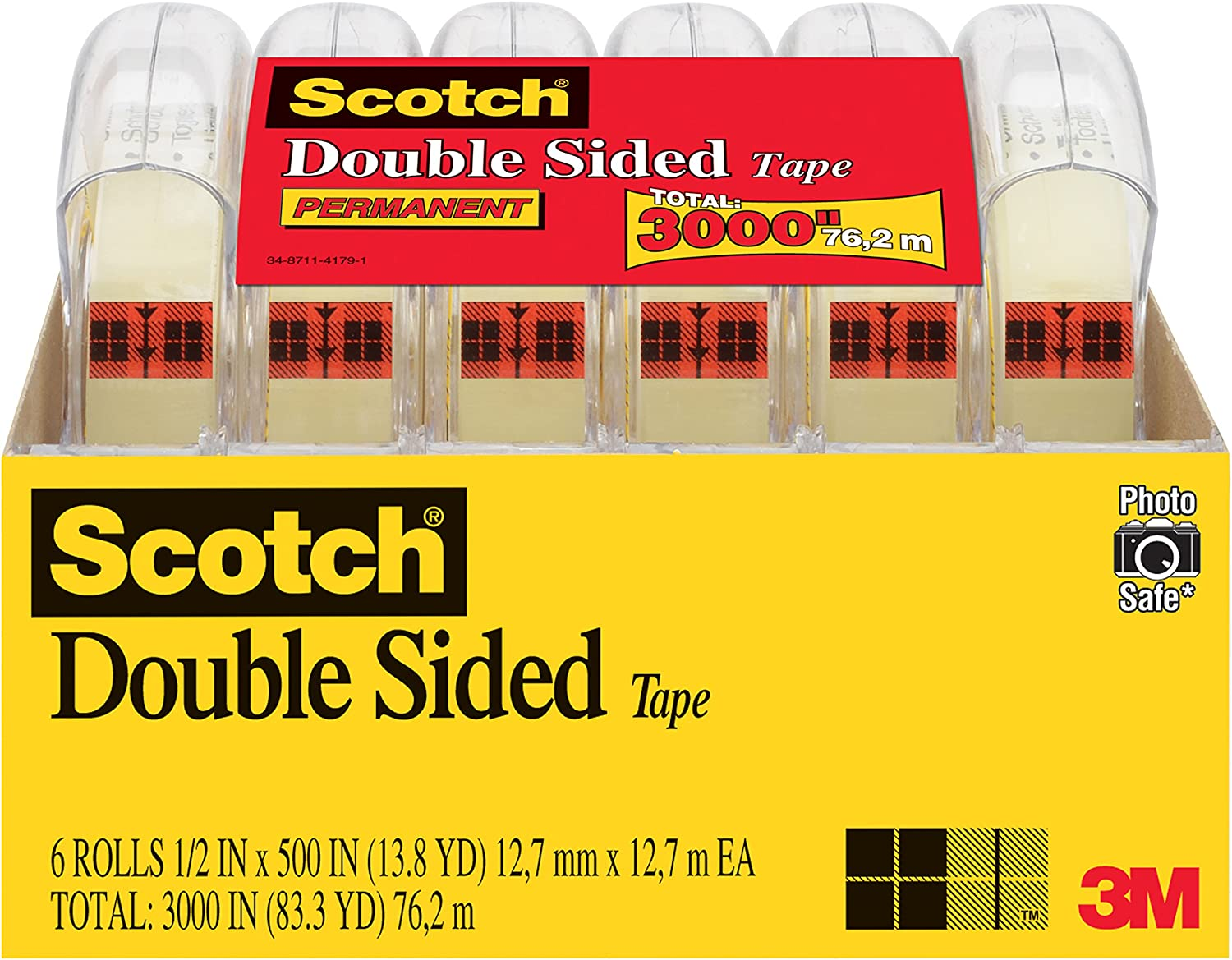 Scotch Brand Double Sided Tape, No Liner, Strong, Engineered for Office and Home Use, 1/2 x 500 Inches, 6 Dispensered Rolls (6137H-2PC-MP)