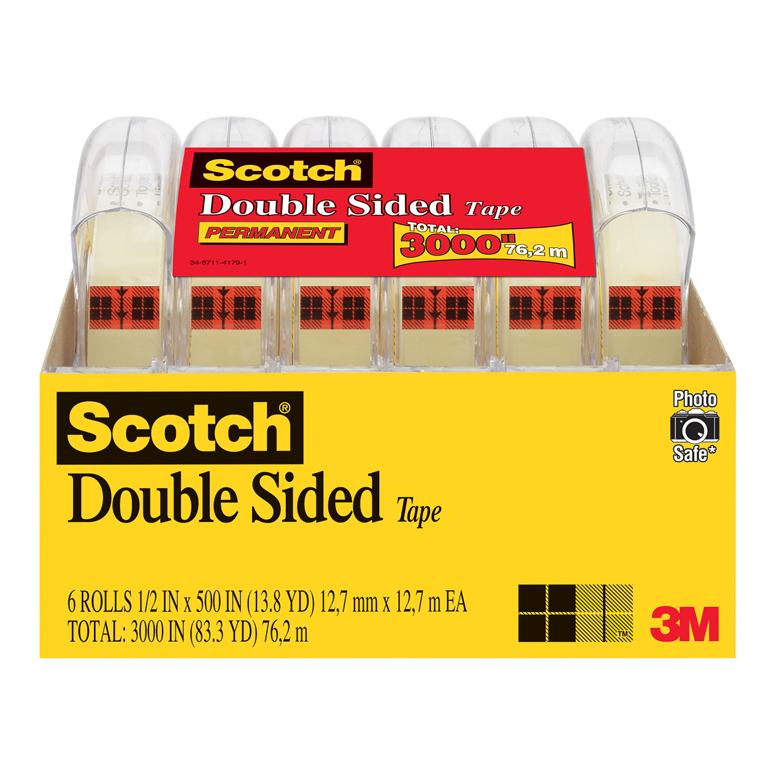Scotch Brand Double Sided Tape, No Liner, Strong, Engineered for Office and Home Use, 1/2 x 500 Inches, 6 Dispensered Rolls (6137H-2PC-MP) by Scotch Brand