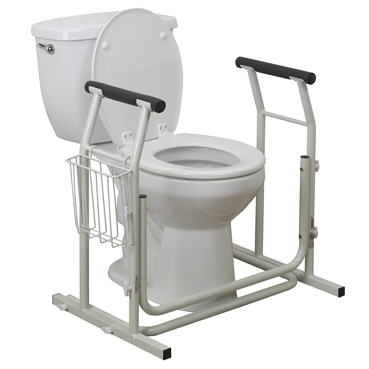 Amazon.com: Drive Medical Stand Alone Toilet Safety Rail, White ...