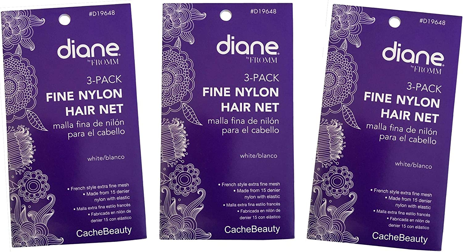 Hair Nets Fine Nylon with Elastic 3 PACKAGES with 3 Nets per package = 9 Nets Total Black