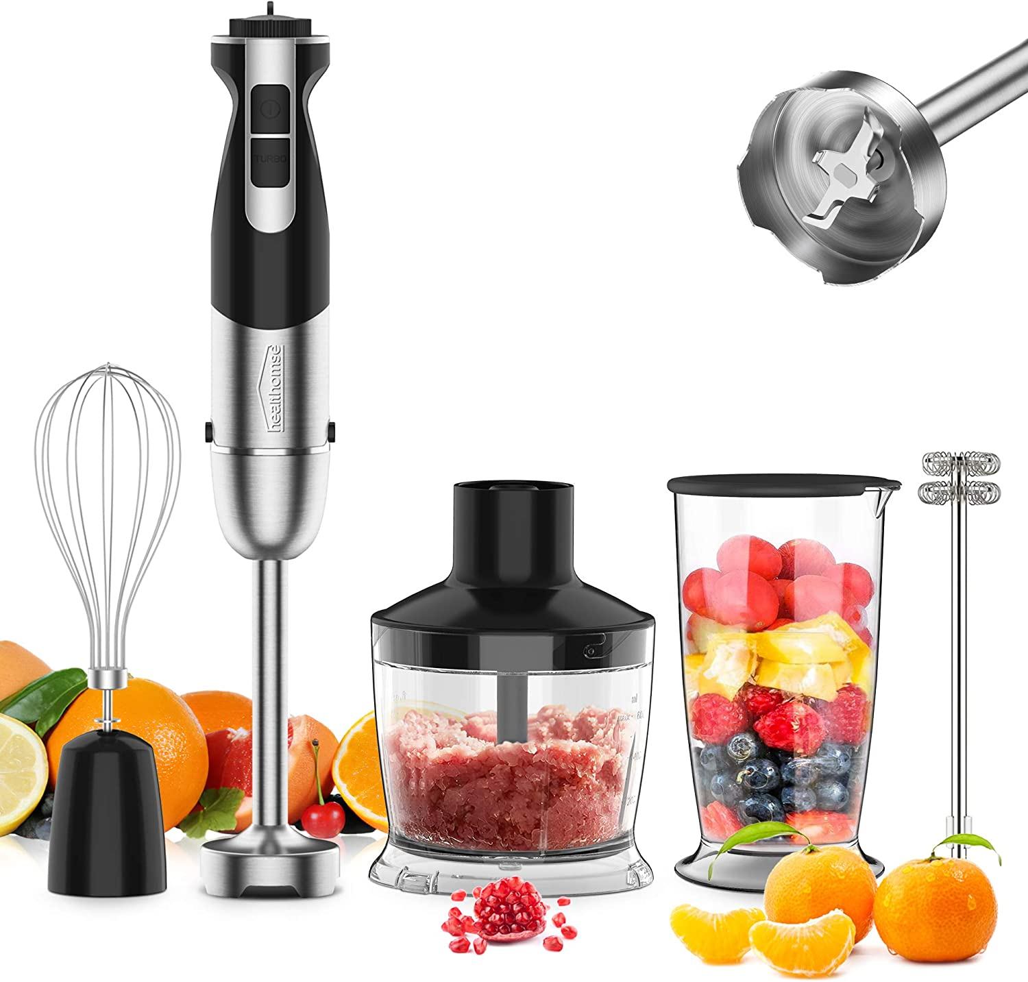 [Upgraded] 5-In-1 Immersion Hand Blender, healthomse Powerful 800W 12-Speed Stainless Steel Stick Blender with Milk Frother, Egg Whisk, 4-Blades 500ml Chopper and 700ml Beaker with Lid, Detachable