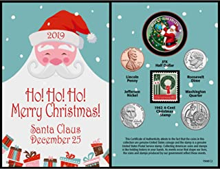 product image for American Coin Treasures Santa Coin Year to Remember 2019 Christmas Card   Genuine United States JFK Colorized Coin   First Christmas Stamp