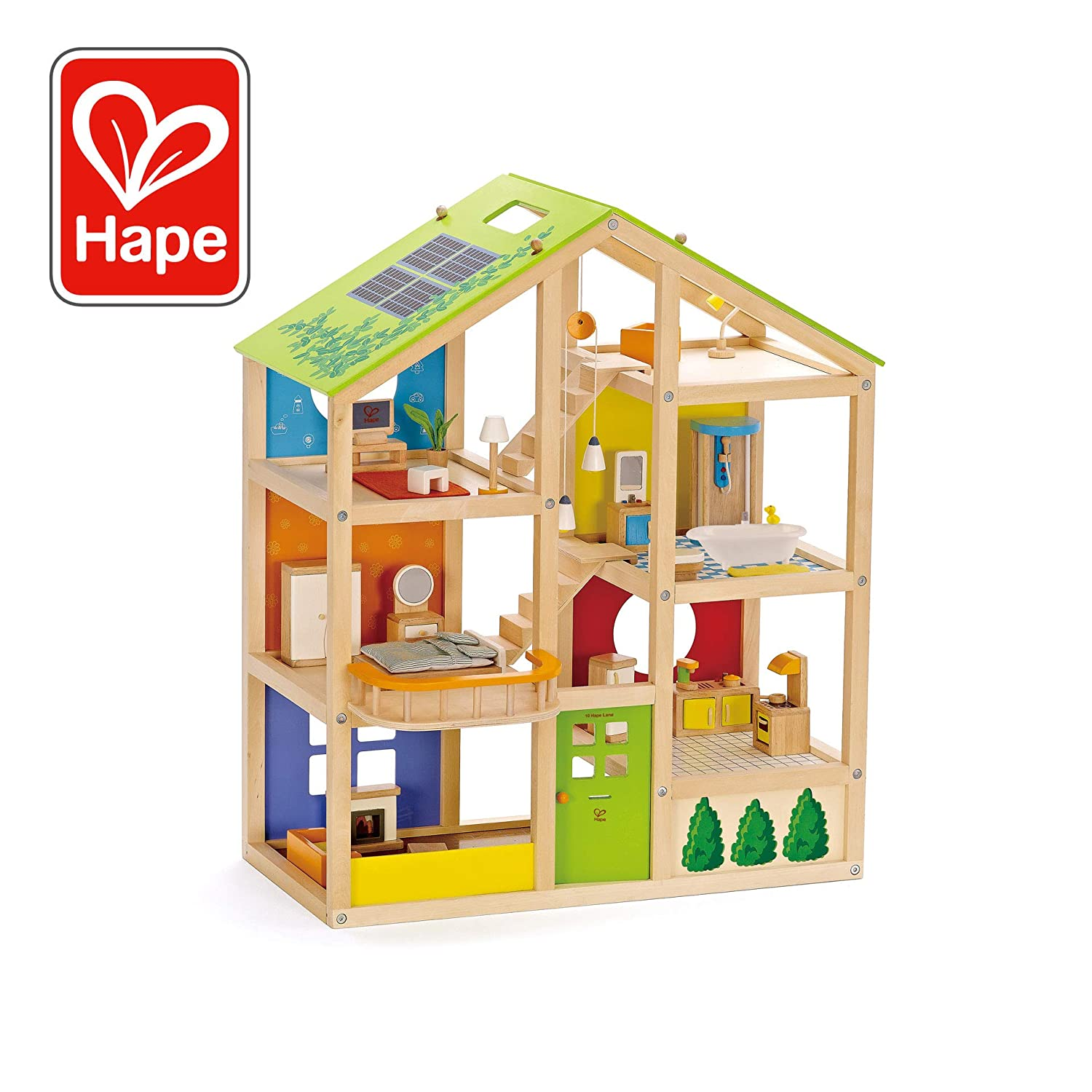 All Seasons Kids Wooden Dollhouse By Hape Award Winning 3 Story Dolls House Toy With Furniture Accessories Movable Stairs And Reversible Season