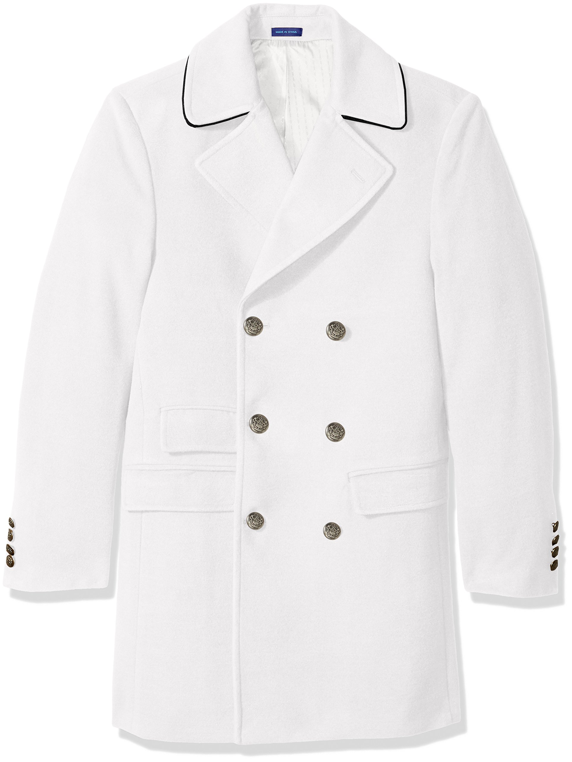 Stacy Adams Men's Big and Tall tomy Double Breasted 36 Inch Topcoat, Winter White, 52