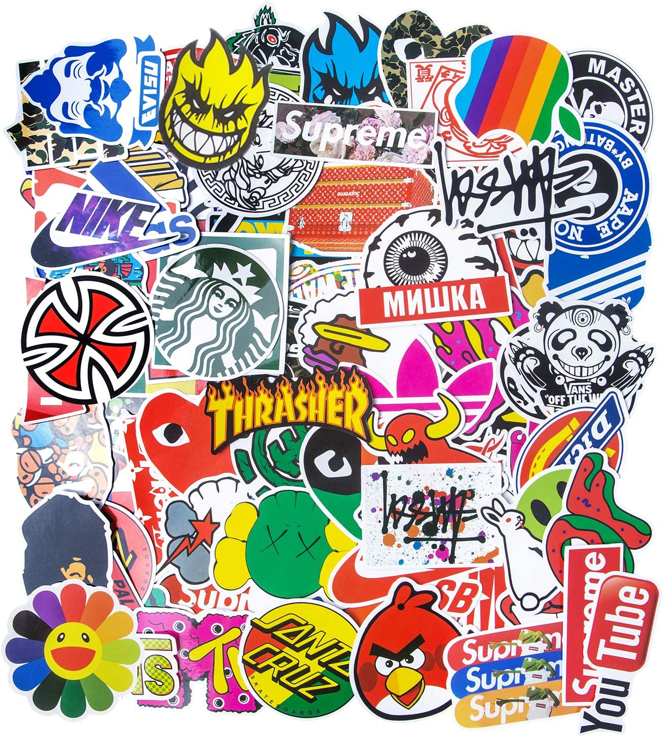 Fashion Brand Stickers, Street Cool Stickers for Water Bottle Stickers Waterproof Vinyl Stickers Luggage Car Bike Bicycle Laptop Stickers for Teens(100pcs)