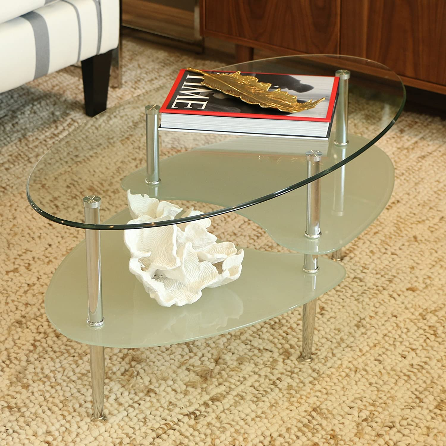 amazon com walker edison glass oval coffee table kitchen dining