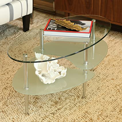Wonderful Walker Edison Glass Oval Coffee Table