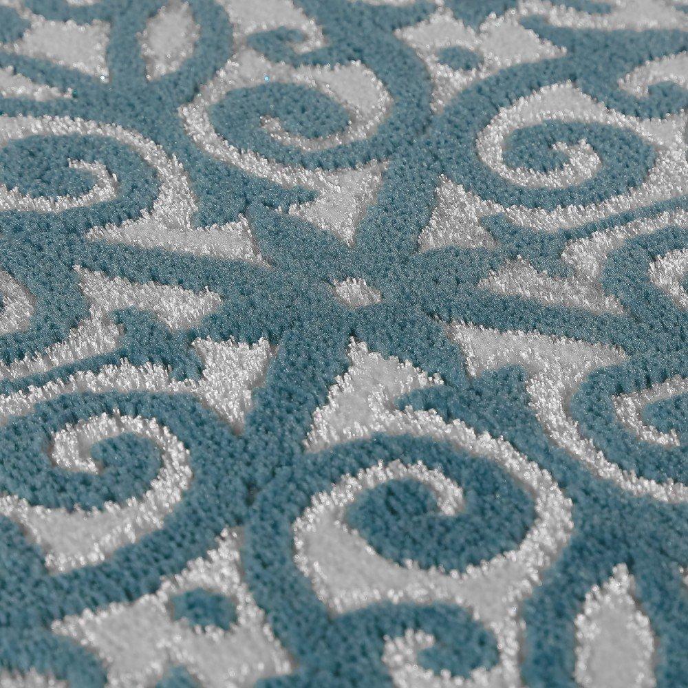 Paco Home Designer Teppich Edel Barock Design Floral Muster Meliert Meliert Meliert Grau Türkis, Grösse 80x150 cm 340e7b