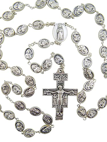 Silver Tone Saint Claire with St Francis Prayer Bead Rosary, 24 Inch