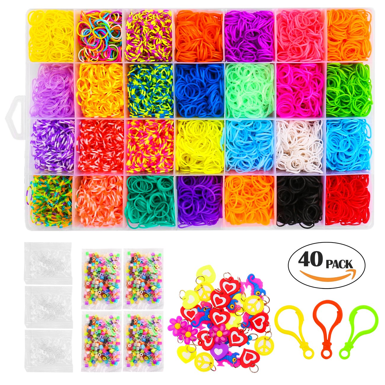 11500 Pcs Colorful Rainbow Rubber Bands Refill Kit Set Box, DIY Crafts Rubber Bracelets for Kids with 28 Colors