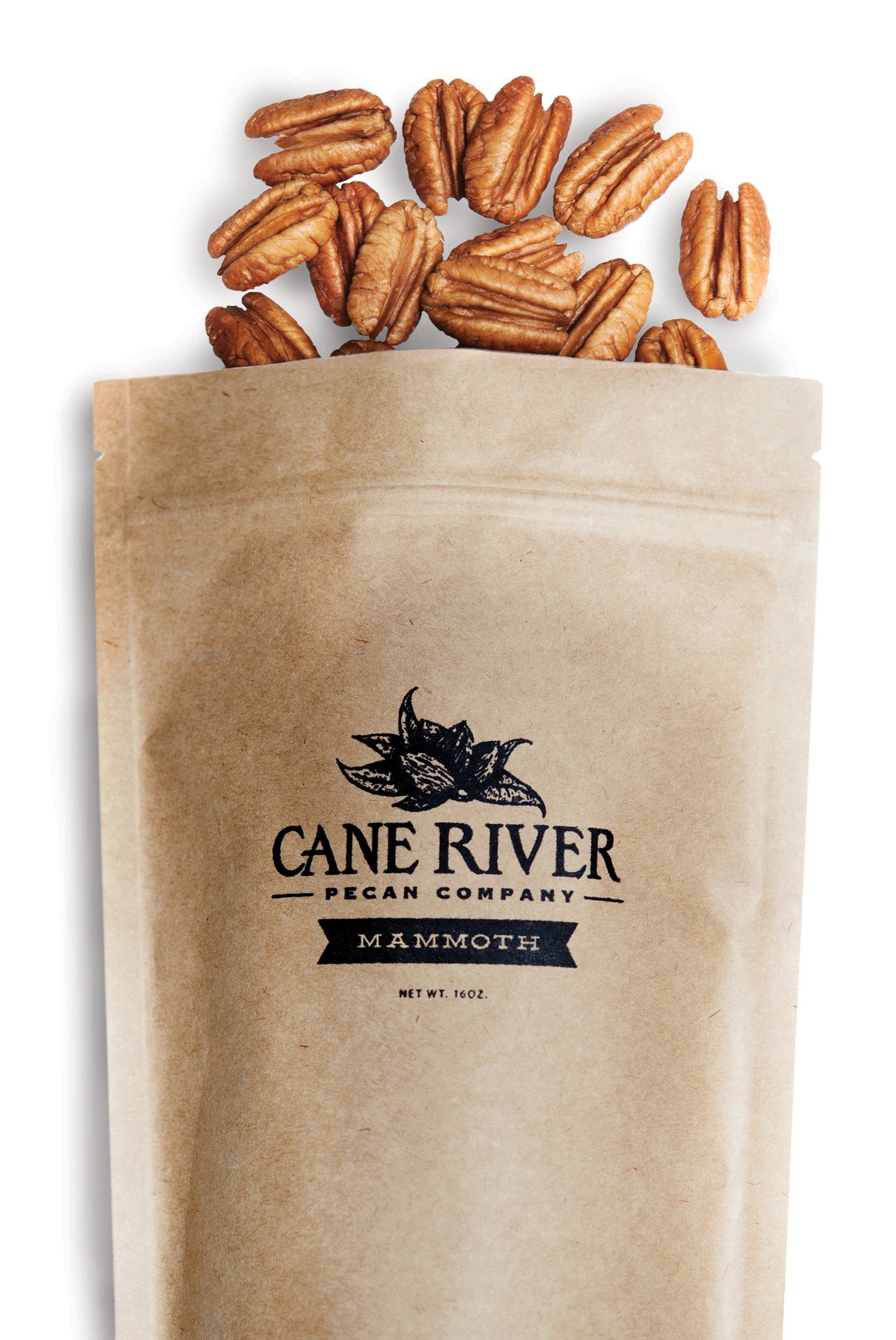 Mammoth Desirable Pecan Halves, 1 pound bag - Cane River Pecan Co.