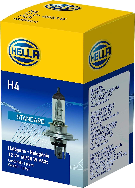 60//55W 12 V HELLA H4 Standard Halogen Bulb