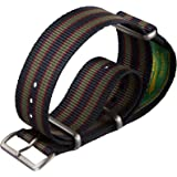 Cinturino Geckota® in nylon, Militare NATO, Bond Vintage, Blu/Rosso/Verde, Argento Satinato, 20mm