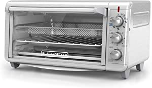 Black+Decker TO3265XSSD Extra Wide Crisp 'N Bake Air Fry Toaster Oven, Silver, Fits 9