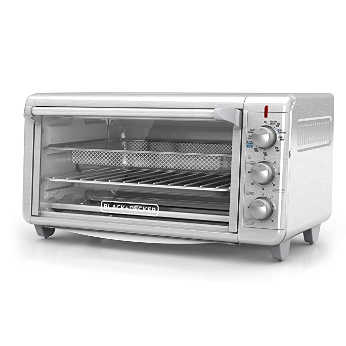 "BLACK+DECKER TO3265XSSD Extra Wide Crisp 'N Bake Air Fry Toaster Oven Fits 9"" x 13"" Pan Silver"