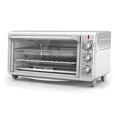 BLACK+DECKER TO3265XSSD Extra Wide Crisp 'N Bake Air Fry Toaster Oven, Fits 9  x 13  Pan, Silver