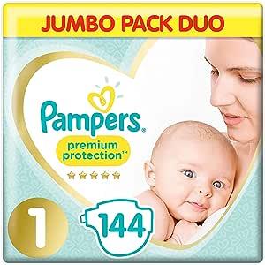 Pampers Premium Protection Pañales de confort más suave Jumbo Pack aprobado por British Skin Foundation, tamaño 1, 144 unidades: Amazon.es: Salud y cuidado personal