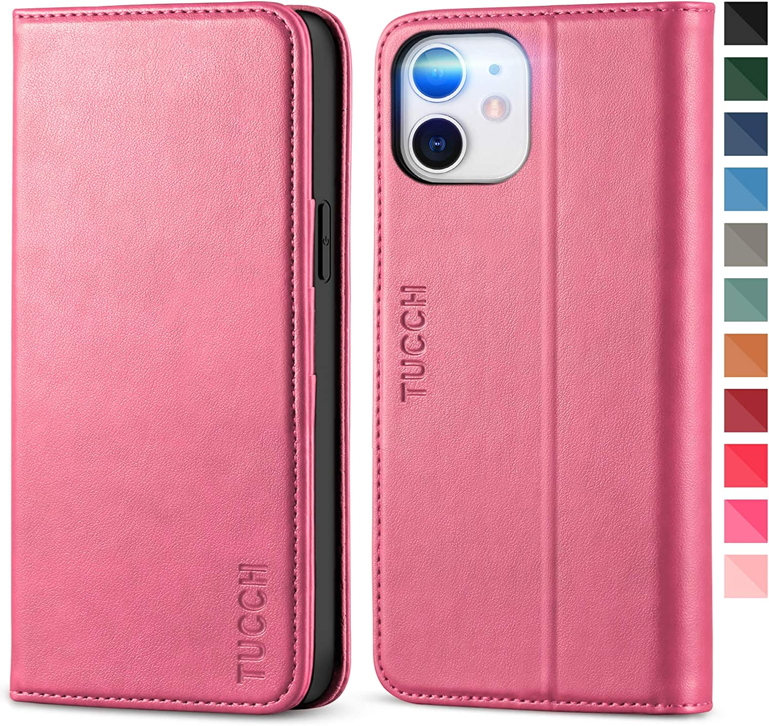 TUCCH Wallet Case for iPhone 12 Pro/iPhone 12 5G, Credit Card Holder Money Slot Case Wallet, Kickstand Folio Flip Cover [TPU Interior Protective Case] Compatible with iPhone 12/12 Pro, Hot Pink