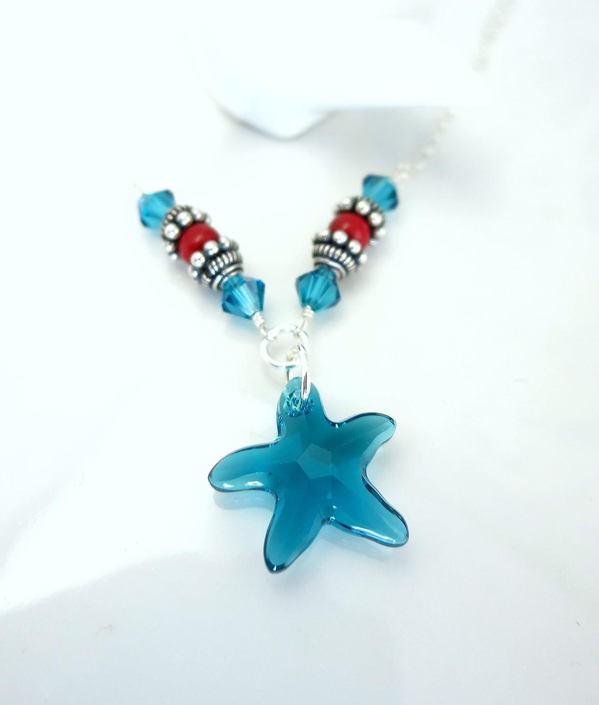 43757b6aad3e0 Amazon.com: Swarovski crystal blue starfish coral sterling silver ...
