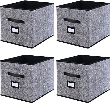homyfort Caja de Almacenaje Set de 4 Cajas de Juguetes, Caja de Tela para Almacenaje con Cuero maneja y Etiqueta, 33 x 38 x 33 cm, Negro Lino, XABXL04PLP: Amazon.es: Hogar