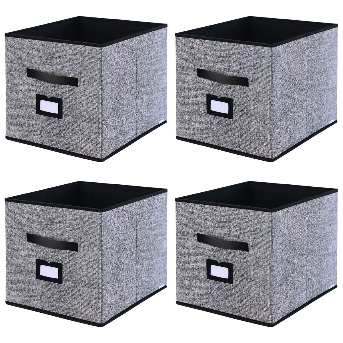"""Onlyeasy Foldable Cloth Storage Cubes with Label Holders - Fabric Storage Bins Baskets Organizers for Home Office Nursery Cubby with Dual Leather Handles, 13""""x15""""x13"""", 4 Pack Black, MXABXL04PLP"""