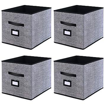 homyfort Caja de Almacenaje Set de 4 Cajas de Juguetes, Caja de Tela para Almacenaje