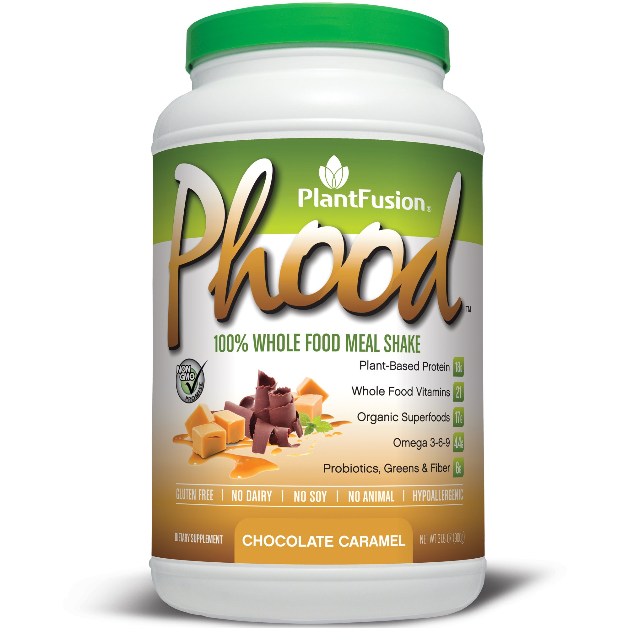 PlantFusion Phood Plant-Based Meal Replacement Protein Powder, Chocolate Caramel, 31.8 oz Tub, 20 Servings, 1 Count, Non-GMO, Gluten Free, Hypoallergenic