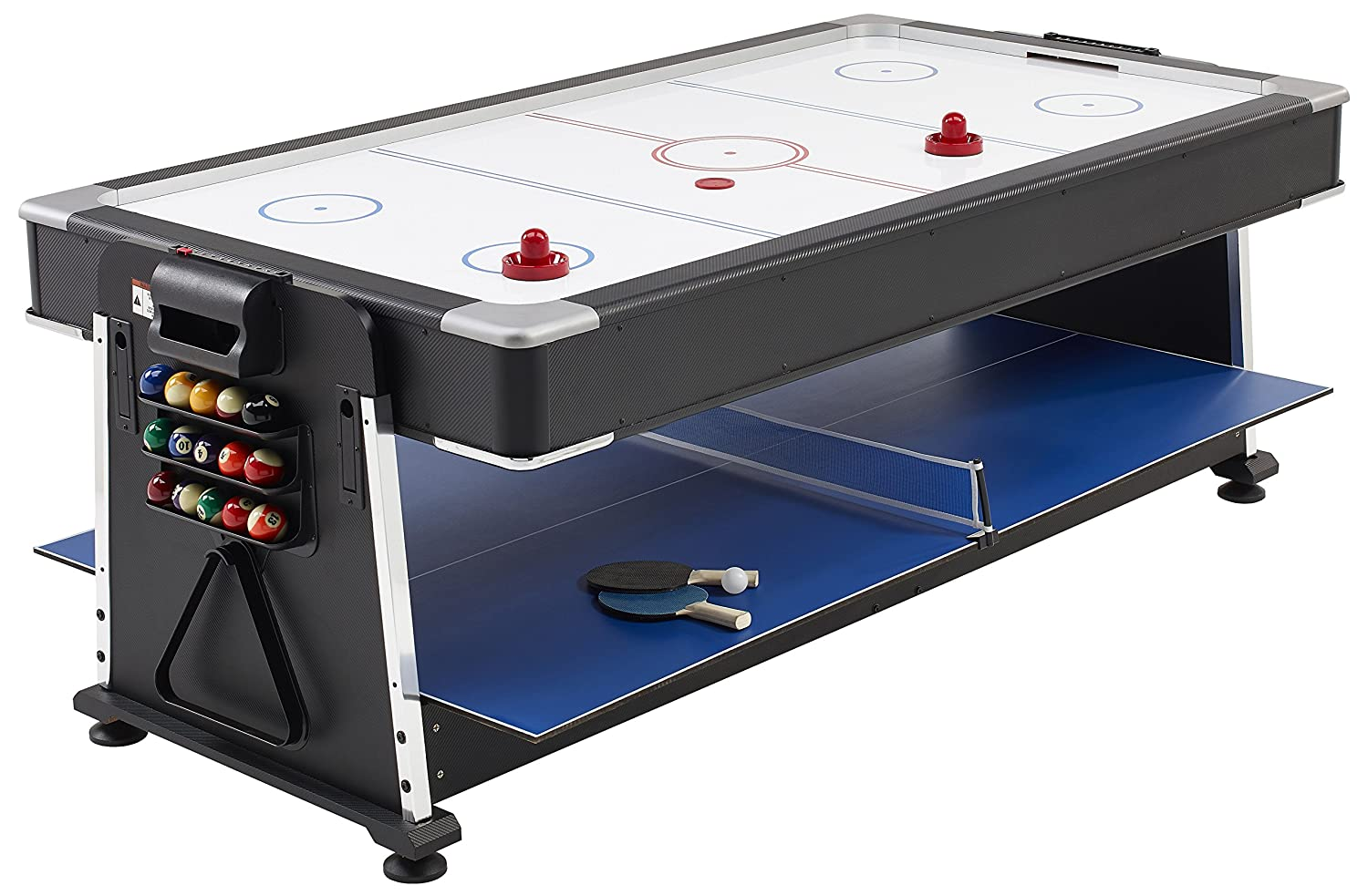 Mightymast Revolver 3 In 1 Pool/Air Hockey/Table Tennis Table   Black, 7  Ft: Amazon.co.uk: Sports U0026 Outdoors
