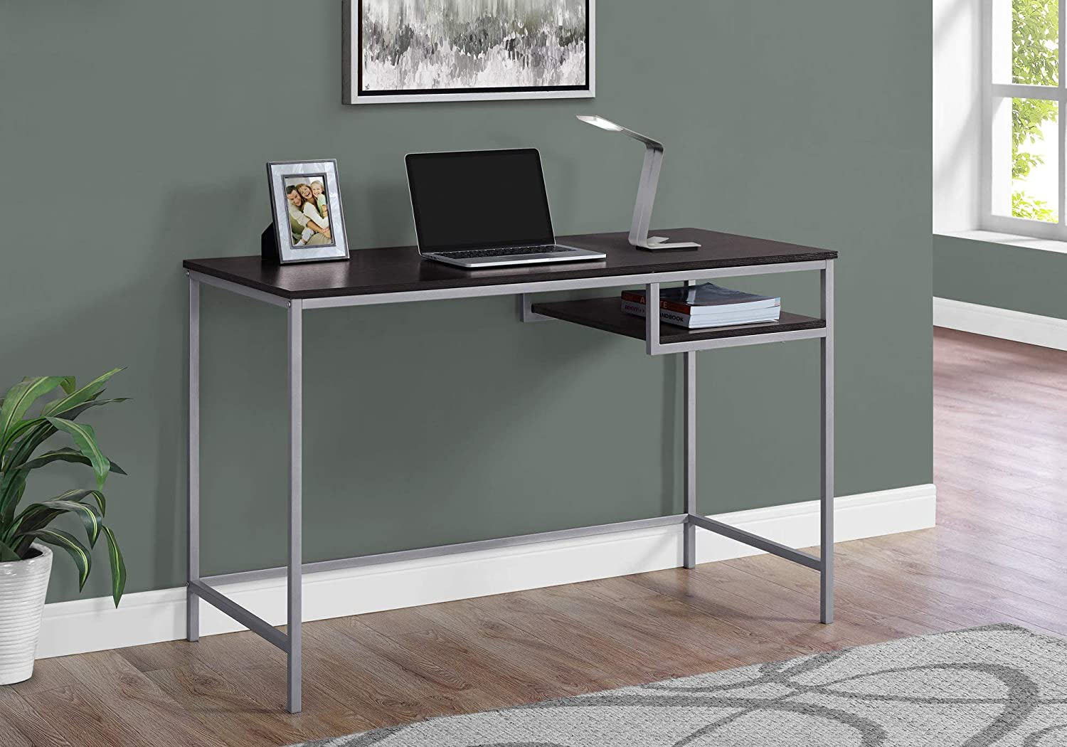 """Monarch Specialties Contemporary Laptop Table with Shelf Home & Office Computer Desk-Metal Legs, 48"""" L, Cappuccino"""