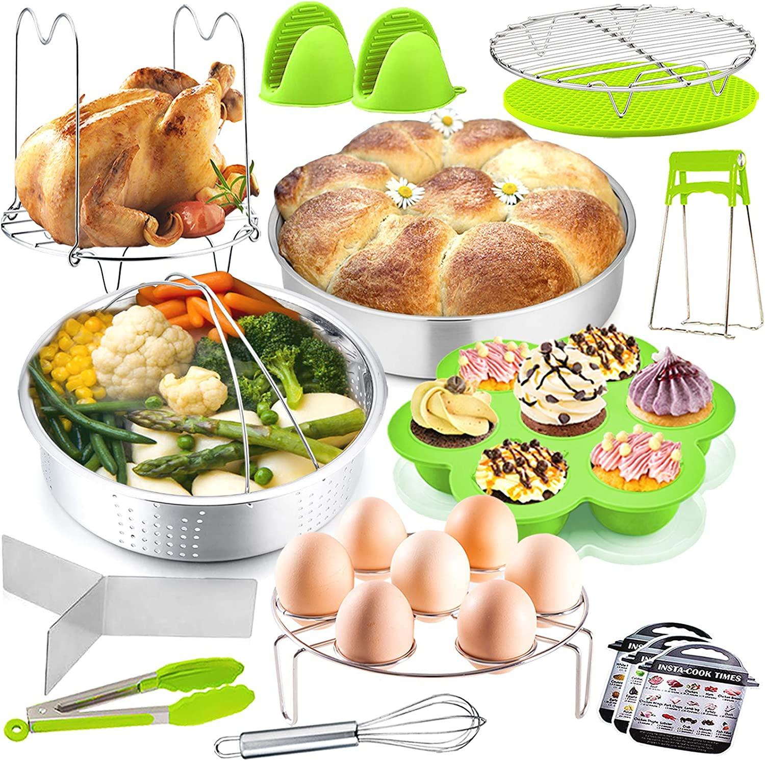P&P CHEF 17-Pieces Pressure Cooker Pot Accessories Set, Instant Steamer Accessories Kit for Cooking, Steaming & Serving, Steamer Basket, Cake Pan, Egg Rack, Egg Bites Mold and More Kitchen Tools