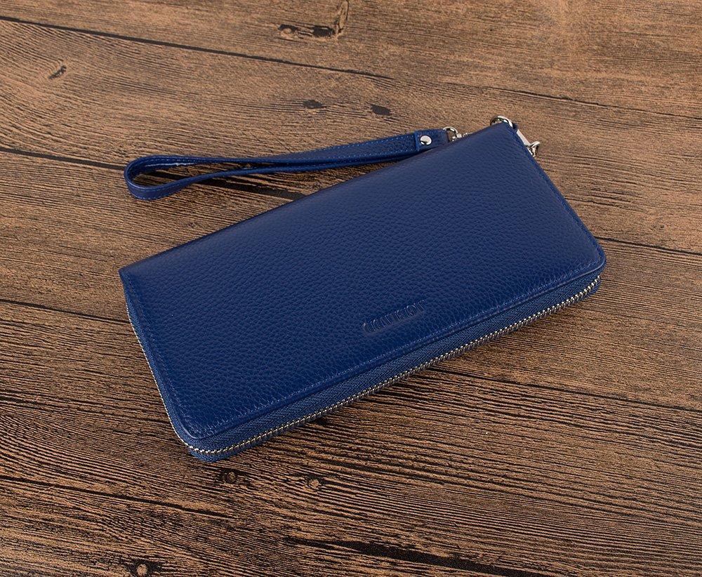 Women's RFID Blocking Wallet Genuine Leather Zip Around Clutch Plus Size Travel Purse