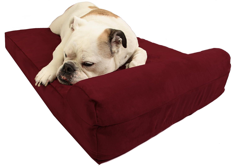 Burgundy Medium (39 x 25) Burgundy Medium (39 x 25) Big Barker Mini 4  Pillow Top Orthopedic Dog Bed with Headrest for Medium Size Dogs 30 50 Pounds
