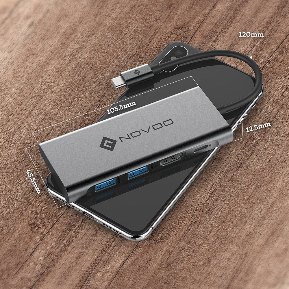 USB C Hub, NOVOO 4 in 1 Aluminum Type C Hub with HDMI 4K Adapter, USB C PD Charging Port, 2 USB 3.0 ports for MacBook Pro 2017/2016, HW MateBook, Chromebook, Samsung S8 and Other Type C Devices