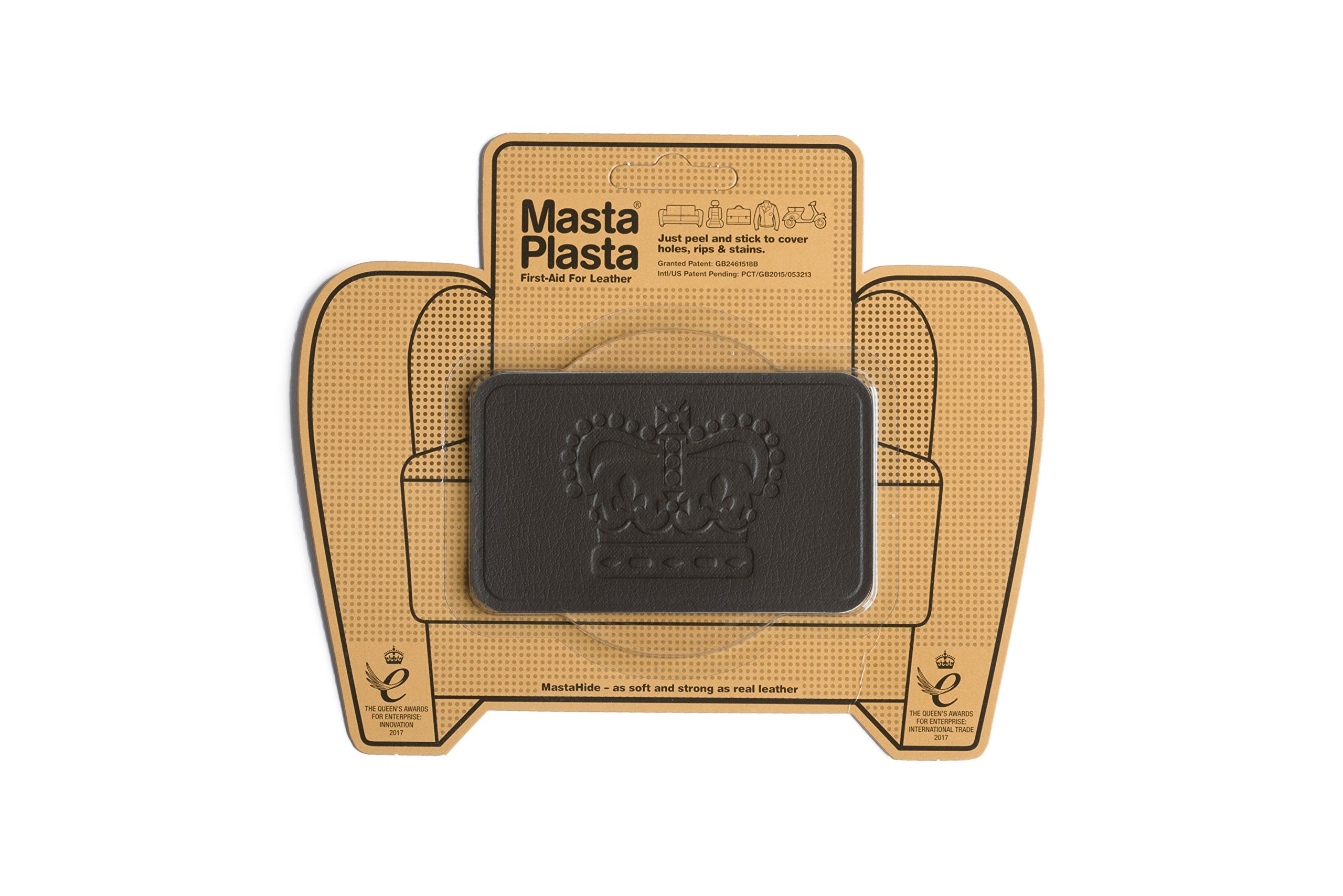 MastaPlasta, Leather Repair Patch, First-aid for Sofas, Car Seats, Handbags, Jackets, etc. Brown Color, Crown 4-inch by 2.4-inch, Designs Vary