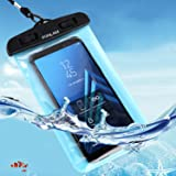 """Waterproof Case, FONLAM IPX8 Waterproof Phone Pouch Dry Bag for iPhone X, 8/7/7 Plus/6/6S Plus, Samsung Galaxy S9/S9 Plus/S8/S8 Plus/Note 8, Google Pixel 2 LG up to 7.0"""" (Black-Blue/ 1 Pack)"""