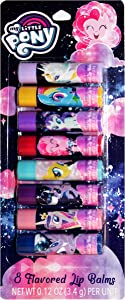 Taste Beauty (1) Pack My Little Pony Themed 8pc Lip Balm Sticks - Assorted Fruit & Candy Flavors - Twilight Sparkle, Fluttershy, Pinkie Pie & More! - Cruelty Free, Vegan - Net Wt. 0.12 oz Each Stick