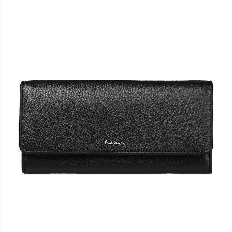 ポールスミス Paul Smith レディース 財布 マルチストライプ タブ かぶせ 長財布 (ブラック) B078NW1Q22 ブラック ブラック