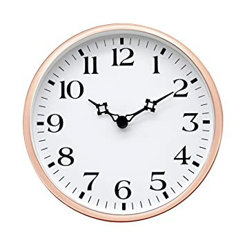 Amazoncom Comodo Casa Wall Desk Clock Metal Rose Gold Frame