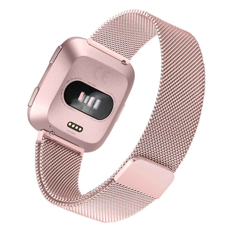 bayite for Fitbit Versa帯、ミラネーゼループメッシュスポーツバンドステンレススチール金属リストバンドwith Magnetic Clasp Closure forフィットビットVersa Smartwatchメンズレディース 5.5''-6.7''|ローズピンク ローズピンク 5.5''-6.7'' B07BNBBC6T