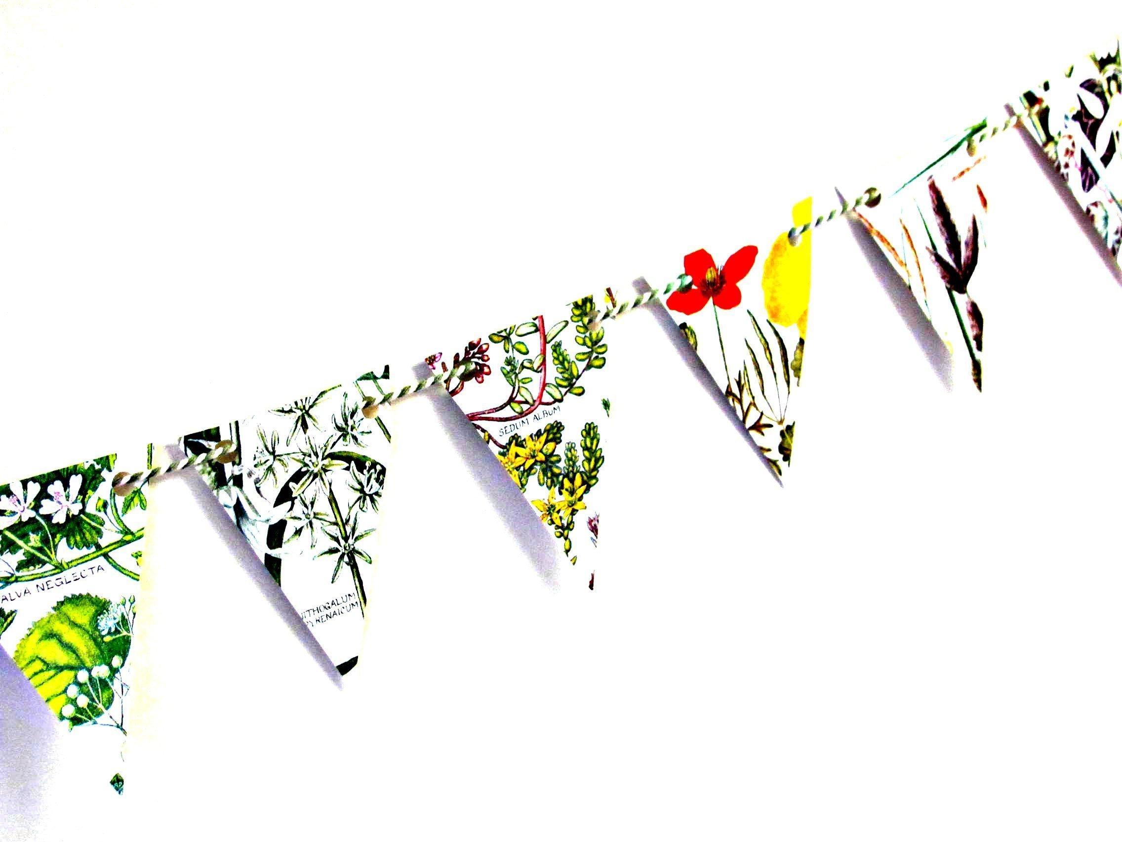 British wild flowers mini bunting/garland