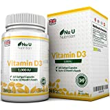 Vitamin D3 365 Softgels (Full Year Supply) 1000IU Vitamin D Supplement, High Absorption Cholecalciferol Vitamin D (Vitamin D3 softgels Easier to Swallow Than Vitamin D Tablets) by Nu U Nutrition