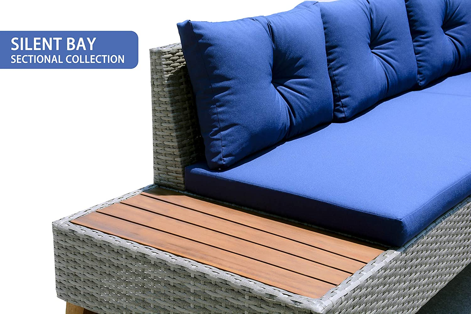 Blue Cushion and Solid Wood Table 3 Piece Outdoor Sectional Sofa Manual Weaving Wicker Rattan Patio Conversation Set Patio Furniture Set Grey