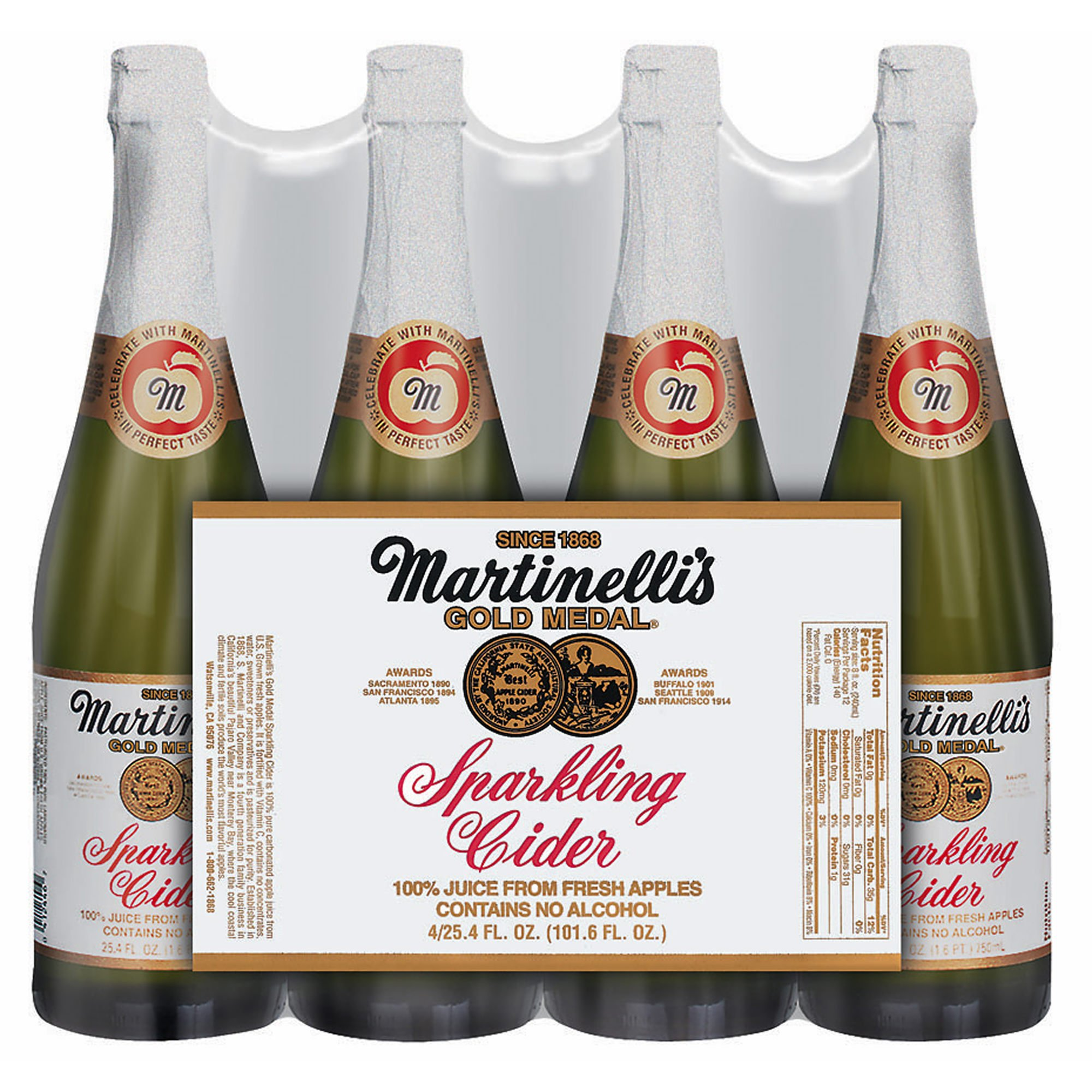 Martinelli Sparkling Apple Cider, 25.4 oz.Bottles, 4 pk. by Martinelli