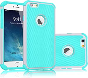 Tekcoo iPhone 6S Case, Tekcoo iPhone 6 Sturdy Case,[Tmajor] for iPhone 6 / 6S (4.7 INCH) Case Shock Absorbing Impact Defender Slim Cover Shell w/Plastic Outer & Rubber Silicone Inner [Grey/Turquoise]