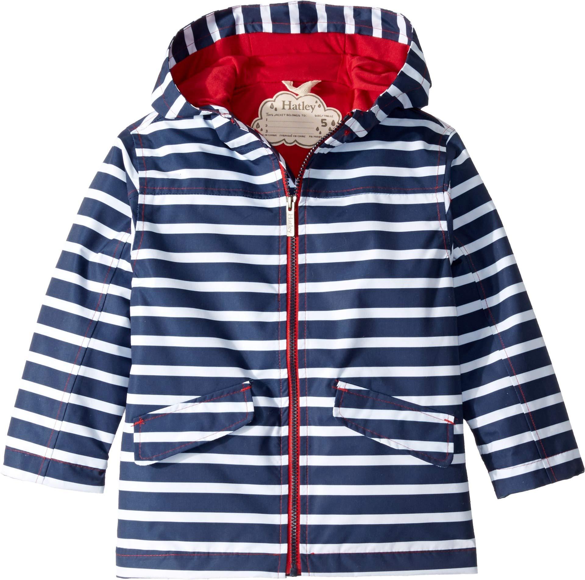 Hatley Kids Baby Boy's Navy Stripes Microfiber Rain Jacket (Toddler/Little Kids/Big Kids) Blue 4T