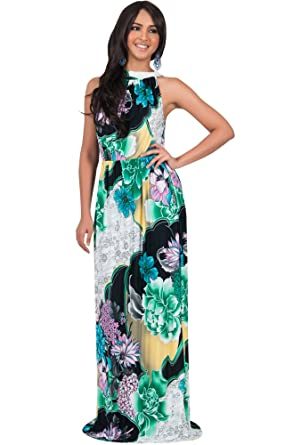 b3d00b52d1c KOH KOH Petite Womens Long Summer Flowy Sexy Halter Neck Sleeveless Casual  Floral Print Printed Beach